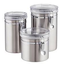 Clear Plastic Kitchen Canisters Stainless Steel Canisters Brushed Stainless Steel Canisters