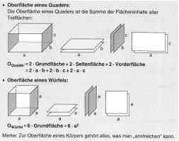 oberfläche eines würfels berechnungen an quader und würfel
