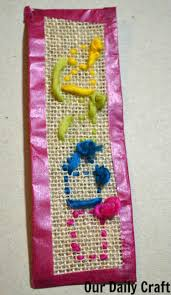 stitch a burlap bookmark