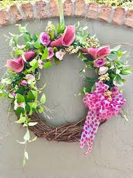 spring wreath spring door wreath spring flower wreath spring