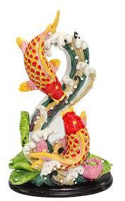 amazon com feng shui shape 8 double carps koi fish in lotus pond amazon com feng shui shape 8 double carps koi fish in lotus pond statues figurine wealth lucky figurine home decor gift us seller shape 8 double carps