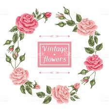 Decorative Flowers by Background With Vintage Roses Decorative Retro Flowers Image For