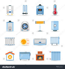 heating devices boilers radiators emitter fireplace stock vector