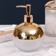 contemporary frosted glass and gold plated bathroom set by dibor