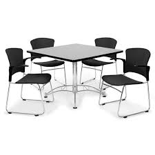 Plastic Table And Chairs All Breakroom Table U0026 Four Plastic Chairs W Armrests By Ofm