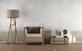 Wohnzimmer Mit Lampen Vintage Wohnzimmer Mit Holzsessel Und Dekor Objekte Auf Fußboden