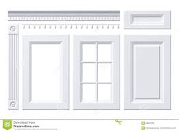 front door drawer column cornice for kitchen cabinet isolated