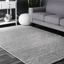 Gray Area Rug Langley Makenzie Woolen Cable Woven Light Gray Area