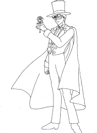 sailor moon tuxedo mask carrying a flower sailor moon coloring