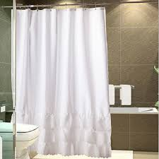 Frilly Shower Curtains Carnation Home Fashions Carmen Crushed Voile Ruffled Tier