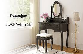 amazon com tribesigns vanity makeup table set with mirror u0026 stool