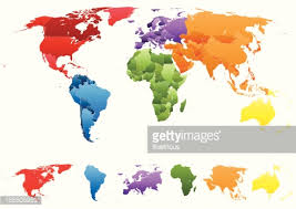continents on map map with individual countries and separate continents vector