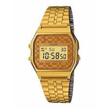 Jam Tangan Casio Gold casio a159wgea 9adf s vintage gold tone chrongoraph alarm lcd