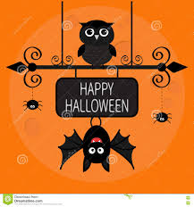 happy halloween card bat hanging on wrought iron sign board owl