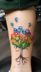 unique watercolor balloons tree on forearm