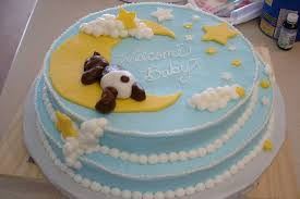 teddy bear with moon and stars baby shower cake cakecentral com