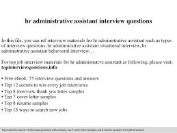 Hr Administrative Assistant Resume Sample Hr Administrative Assistant Interview Questions