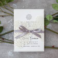 wedding invitations with ribbon pearl white floral laser cut wedding invitations with grey