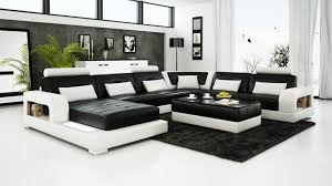 Black Leather Sofa Modern Modern Black And White Leather Sectional Sofa With Minimalist