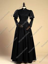Victorian Dress Halloween Costume Gothic Steampunk Black Penny Dreadful Frock Dress Witch Ghost