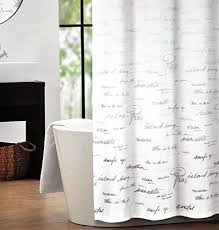Shower Curtains With Writing Tahari Fabric Shower Curtain Gray Words Writing On White Shower