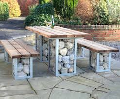 gabion picnic table and bench set rustic iron tree surround bench