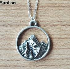 simple silver pendant necklace images 10pcs tiny mountain charm necklace simple silver nature pendant jpg