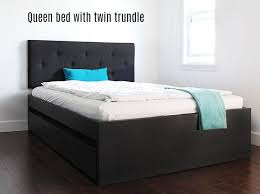 Plans To Build A Queen Size Platform Bed by How To Build A Queen Bed With Twin Trundle Ikea Hack
