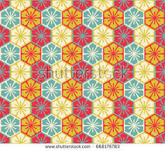 asian wrapping paper lovely colorful vector asian geometric floral stock vector