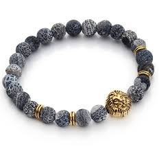 fashion stone bracelet images Blue gray natural stone bracelet with gold lion the gentleman shoppe PNG