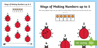ways of making numbers up to 5 activity sheet worksheet