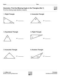 finding missing angles in triangles worksheet geometry shapes free children s worksheets educational books