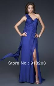 blue a line floor length one shoulder prom evening dress in prom