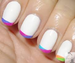 mani monday painting neon french tips with essie