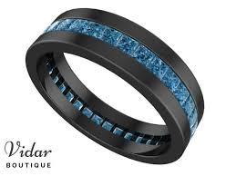 blue diamond wedding rings unique black gold blue diamond mens wedding ring vidar boutique