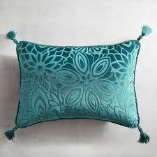 Pier One Peacock Pillow by Tasseled Velvet Floral Shaded Spruce Lumbar Pillow Pier 1 Imports
