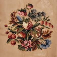 vintage needlepoint canvas floral spray design superbia madeira