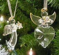 amazon com angel christmas decorations set of 2 crystal angels