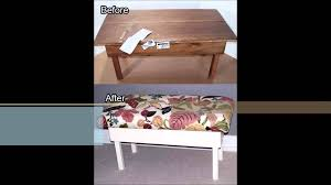 how to turn an ugly coffee table into an upholstered bench youtube