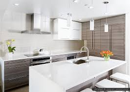 Modern White Kitchen Designs White Glass Subway Backsplash Tile