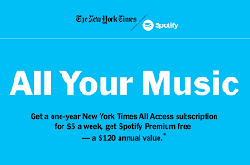 spotify partners with the new york times for bundled subscriptions