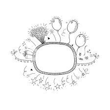 creative hand drawn doodle party frame decorated with balloons