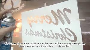 Christmas Windows Decorations Spray Gcc Laserpro Spraying Stencils For Christmas Decoration Youtube