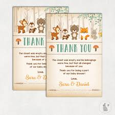 Woodland Forest Peel And Stick Woodland Thank You Card Rustic Woodland Baby Shower Printable