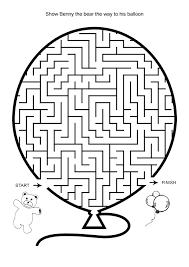 free online printable kids games bear and balloon maze hard