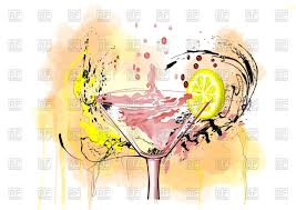 watercolor cocktail cocktail and lemon on abstract watercolor background vector