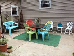 patio plastic patio table and chairs yellow square rustic wooden