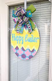 new easter egg wooden door hanger with bow happy easter