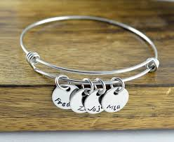 Mothers Bracelets With Names Personalized Bangle Bracelet Mothers Jewelry Mother
