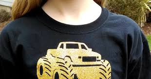 glitter monster truck shirts crafting rain